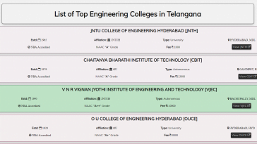 updated list of top engineering colleges in hyderabad